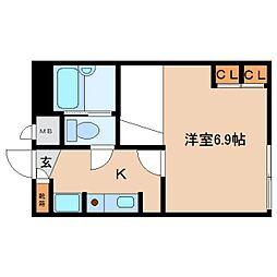 奈良県大和郡山市城南町の賃貸アパートの間取り