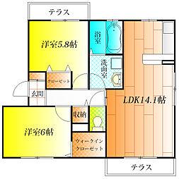 ルミエール西古室[3階]の間取り