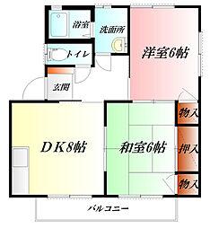 埼玉県鴻巣市筑波2丁目の賃貸アパートの間取り
