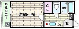 フリックコート[4階]の間取り