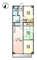 フロレアールI[3階]の間取り