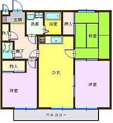 埼玉県越谷市平方南町の賃貸マンションの間取り