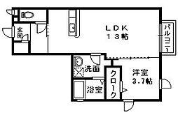 ウエストコート綾園[1階]の間取り
