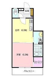 神奈川県横浜市青葉区さつきが丘の賃貸アパートの間取り
