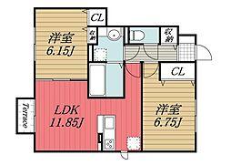千葉県四街道市山梨の賃貸アパートの間取り