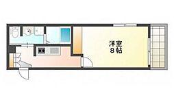 広島電鉄6系統 江波駅 徒歩24分の賃貸アパート 2階1Kの間取り