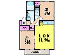 愛媛県松山市高岡町の賃貸アパートの間取り