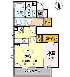 東京都東大和市南街3丁目の賃貸アパートの間取り