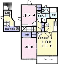 キャンパニュールA棟[2階]の間取り
