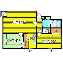 北海道札幌市東区北二十六条東4丁目の賃貸マンションの間取り