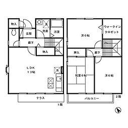 [テラスハウス] 東京都三鷹市新川2丁目 の賃貸【/】の間取り