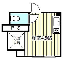 埼玉高速鉄道 南鳩ヶ谷駅 徒歩18分の賃貸マンション 3階ワンルームの間取り