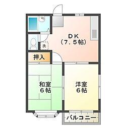 ハイツK・M[2階]の間取り