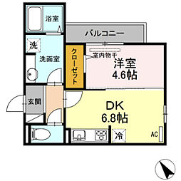 JR可部線 下祇園駅 徒歩2分の賃貸アパート 3階1DKの間取り