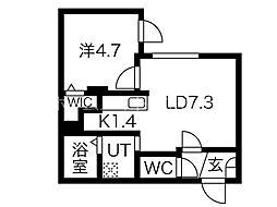 ブランブリエ二十四軒 2階1LDKの間取り