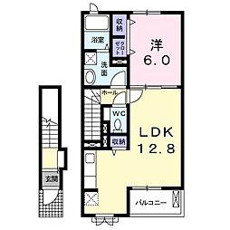JR長崎本線 新鳥栖駅 徒歩11分の賃貸アパート 2階1LDKの間取り