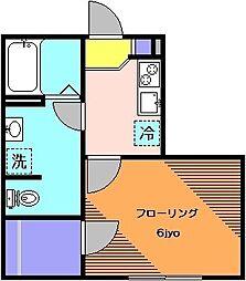 小田急小田原線 経堂駅 徒歩12分の賃貸アパート 1階1Kの間取り