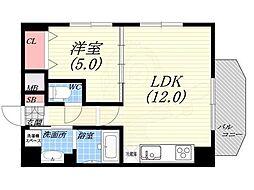 ダブルナインレジデンス西宮 9階1LDKの間取り