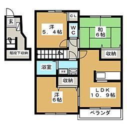 ビューネ遠藤[2階]の間取り