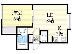 シャネル新琴似1番館 1階1LDKの間取り