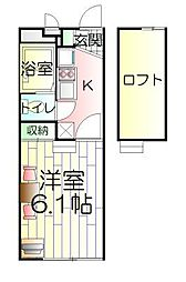 千葉県松戸市五香5丁目の賃貸アパートの間取り