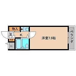 JR和歌山線 北宇智駅 徒歩12分の賃貸マンション 4階1Kの間取り