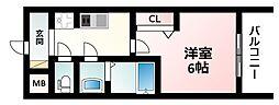 Osaka Metro御堂筋線 西中島南方駅 徒歩3分の賃貸マンション 12階1Kの間取り