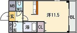 大阪府東大阪市小若江1丁目の賃貸マンションの間取り
