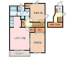 三重県松阪市市場庄町の賃貸アパートの間取り