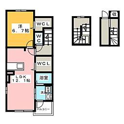 サン・ラフィネ 3階1LDKの間取り