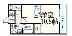 パレス東洋神戸6号館 5階1Kの間取り