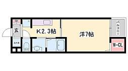 JR播但線 京口駅 徒歩8分の賃貸アパート 4階1Kの間取り