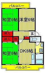 パークシティ白扇1号棟 2号棟[1-206号室]の間取り