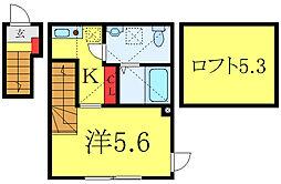 都営三田線 板橋本町駅 徒歩6分の賃貸アパート 2階1Kの間取り