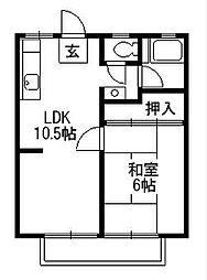 コーポラス富士見[1階]の間取り