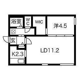 札幌市電2系統 中島公園通駅 徒歩2分の賃貸マンション 4階1LDKの間取り