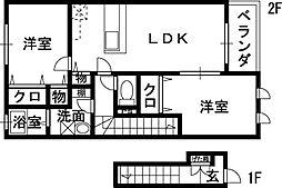 フローラ山本[2階]の間取り