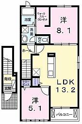 東京都立川市西砂町6丁目の賃貸アパートの間取り