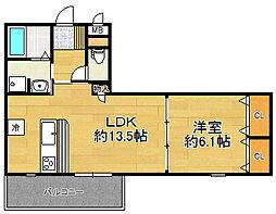 兵庫県宝塚市平井三丁目の賃貸マンションの間取り