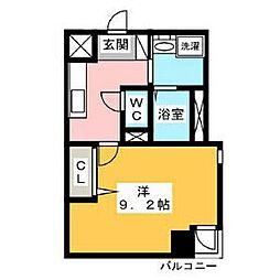 名古屋市営鶴舞線 浅間町駅 徒歩3分の賃貸マンション 8階1Kの間取り