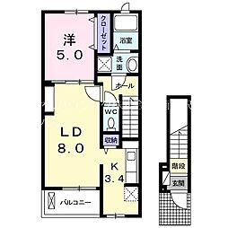 京王相模原線 京王堀之内駅 徒歩10分の賃貸アパート 2階1LDKの間取り