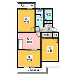 静岡県藤枝市前島3丁目の賃貸マンションの間取り