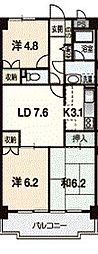 東京都小平市大沼町5丁目の賃貸マンションの間取り
