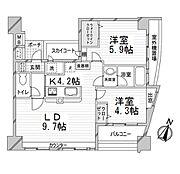2LDKの間取り図。6階・角部屋につき、陽当り眺望良好です。