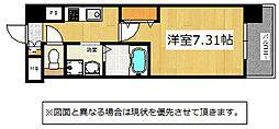 北九州都市モノレール小倉線 香春口三萩野駅 徒歩6分の賃貸マンション 8階1Kの間取り