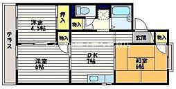 岡山県倉敷市堀南丁目なしの賃貸アパートの間取り