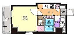 京急本線 京急川崎駅 徒歩9分の賃貸マンション 2階1Kの間取り