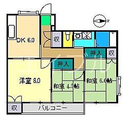 グリーンハイツ(神田船岡)[2階]の間取り