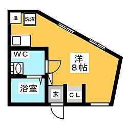 m-station 2階ワンルームの間取り