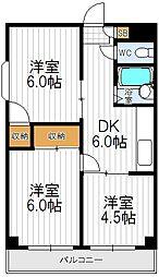 コーポイン天王寺パートI[701号室]の間取り